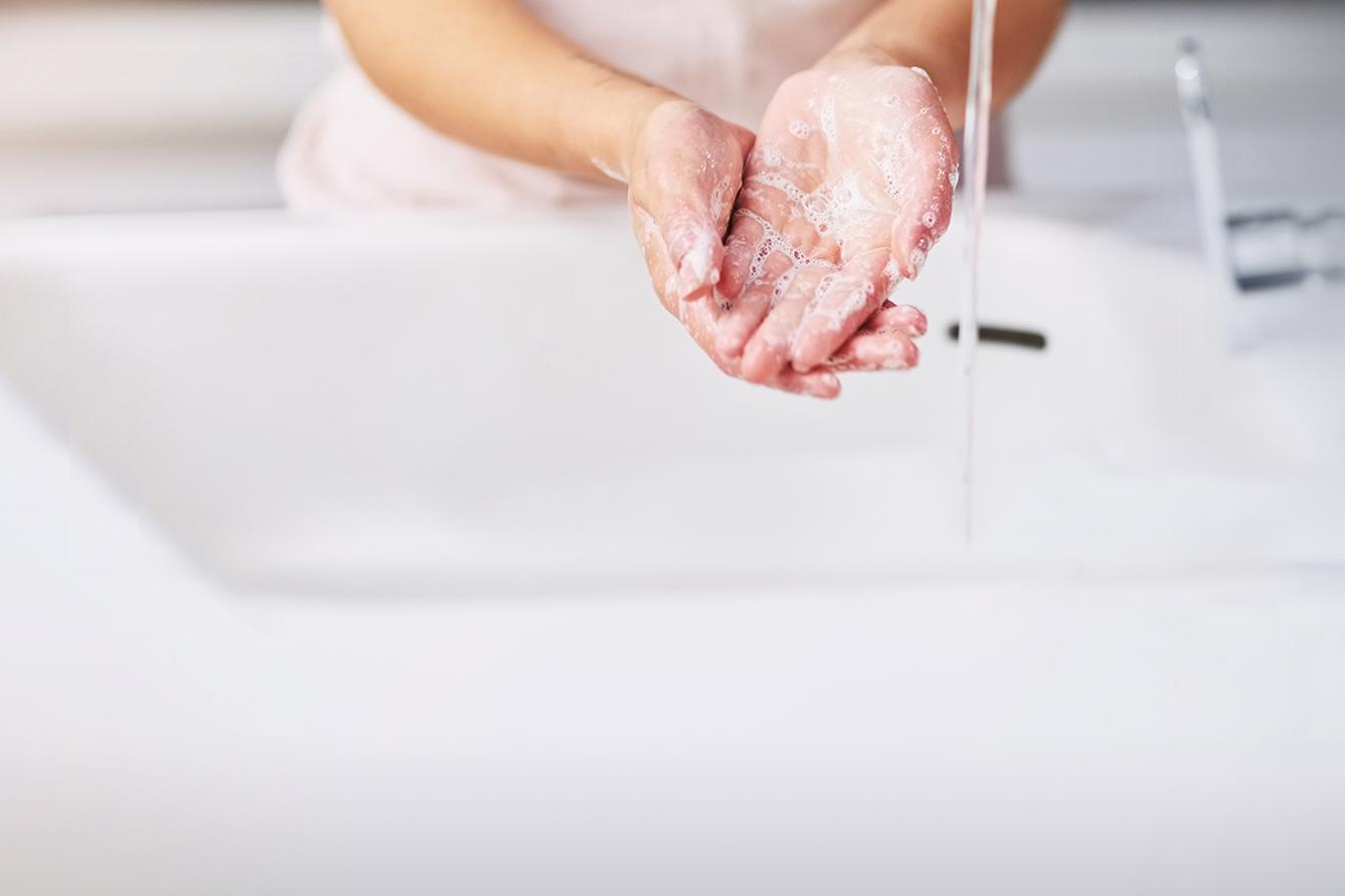 woman washing hands